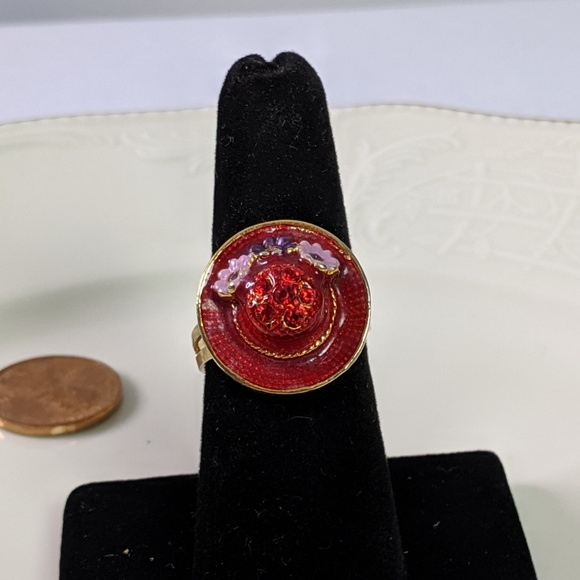 Jewelry - 🌜3 for $25 🌛Red Hat Society Adj. Gold Tone Ring